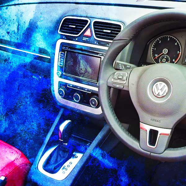 a photoshop image of a cars interior covered in ice from the amazingly good air conditioning system
